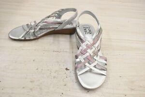 Naturalizer Remix Wedge Sandals, Women's Size 7 M, Silver/Multicolor NEW