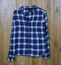WOMENS VINTAGE FADED GLORY PYJAMA SHIRT SIZE S BLUE CHECK BUTTON COTTON TOP