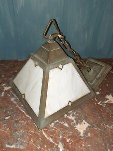 Vintage Slag Glass Lighting Mission Light Pendant Fixture