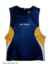 new M mens Orca Elite tri swim singlet triathlon top blue yellow cycling running