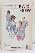 KWIK SEW Vintage Sewing Pattern 1533 Peplum Jacket Blazer Suit Coat Sizes 14-20