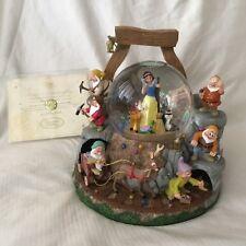 Disney Snow White &7th Dwarfs Musical Spin Fig Lite Up SnowGlobe-IOB w/COA