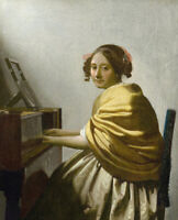 Jan Vermeer A Young Woman Seated At The Virginals Wall Art Print on Canvas Repro