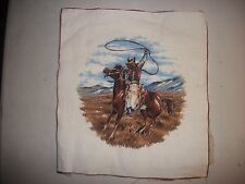 Cowboy Horse Campfire Prairie Range Rope Camp block vtg Pillow Fabric Panel