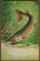 Playing Cards 1 Single Card Old Fishing BASS GAMEFISH Angling Fish Art Picture