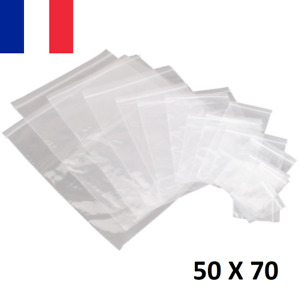 Lot 10X Sachet Zip Plastique 50x70mm 5x7cm Transparent Pochon Pochette 50u