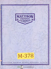Mattison Hydraulic Surface Grinder Pumps Amp Transmissions Operation Manual 1954