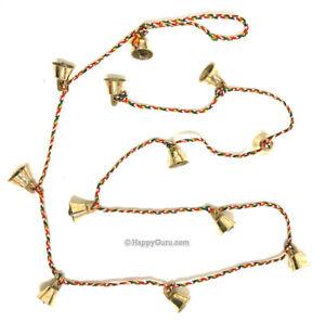 """Brass Bells"" 12 Small Bells Made from Brass 1.5cm on 100cm String"