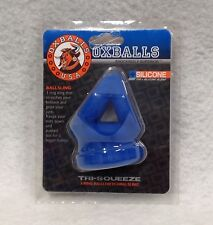 OxBalls Tri Squeeze Silicone Blend 3 Ring Ball Stretching Sling Blue Ox Bulge