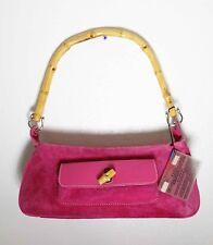 LeRoy P1080 suede leather coral pink medium handbag satchel purse bag