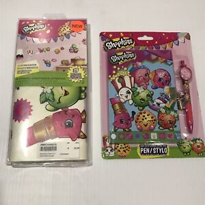 SHOPKINS 2 Piece Gift Lot - Wall Decals + Journal and Pen Set Both NIP Sealed