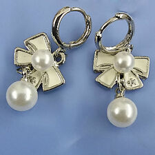 Small Ring Hoop White Planted Metal Bow White Bead Dangle Hoop Earrings #800034