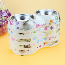 Dog Food Feeder Removable Stainless Steel Double Bowl With Plastic Base Pet Dish
