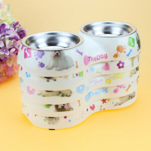 Double Bowl With Plastic Base Pet Dish Removable Dog Food Feeder Stainless Steel