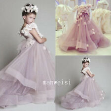 Cute Pink Flower Girl Dresses Tulle Custom Flowers Birthday Party Gown