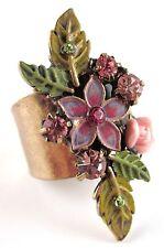 £25 Boho Gold Pink Green Rose Flower Adjustable Ring Swarovski Elements Crystal