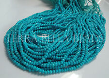 """12.5"""" strand blue TURQUOISE faceted gem stone rondelle beads 3mm - 3.5mm"""
