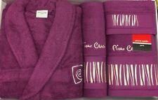 PIERRE CARDIN L/XL 4 PIECE BATHROBE TOWEL SET PLUM AUBERGINE STRIPES 100% COTTON