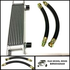 CLASSIC MINI OIL COOLER 10 ROW KIT INC. RUBBER HOSES AUSTIN MORRIS CAR PIPES