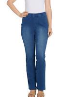 Isaac Mizrahi Live! Knit Denim Pull-On Boot-Cut Jeans Medium Indigo Reg 6