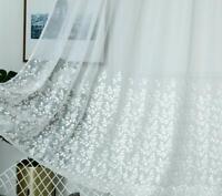 "Slot Top Voile Panels Floral Embroidered Net Curtain MILLY  WHITE 81"" 206cm Drop"