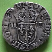 FRANCE 1/4 ECU HENRI III 1589 T