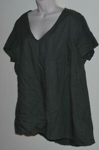 Autograph women's plus size khaki linen short-sleeved top Size 18
