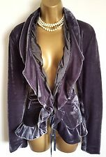 GOTHIC Grey Silver Ruffle Velvet Jacket 14 16 Victorian Vintage Steampunk