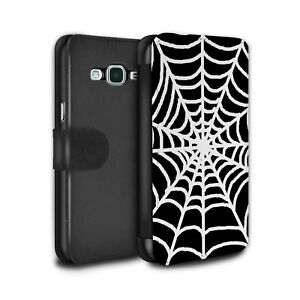 PU Leather Case/Cover/Wallet for Samsung Galaxy J3/Black Fashion/Spider Web