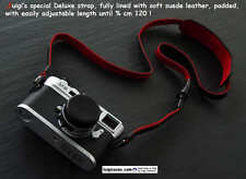 LUIGI's FULLY LINED in RED SUEDE,BLACK DELUXE STRAP,fits LEICA,NIKON,CAN.,ZEISS