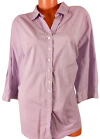 Avenue purple striped spandex stretch button down women's 3/4 sleeve top 26/28
