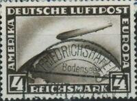 RARE 1930 4 MARK TRANSATLANTIC ZEPPELIN STAMP w PERFECT POINT OF ORIGIN POSTMARK