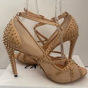 Unbranded Nude Vegan Leather Strappy Mesh Spiked Stiletto Heels Size 14 NIB