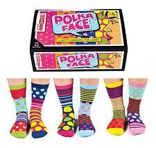 United Oddsocks Polka Face UK 4 - 8 Set Of 6 Bright Dotty Womens Odd Socks Gift