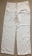 NWT Armani Collezioni Cotton Linen Pants Trousers Womens Size 12 Buttercream