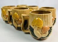 Vintage 1970s Mid Century Modern Ceramic Mushroom Coffee Mugs Cups Set of 6