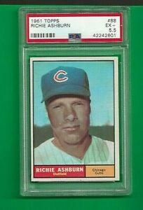 1961 Topps Richie Ashburn Chicago Cubs #88 💥💥🎆 PSA Graded 5.5