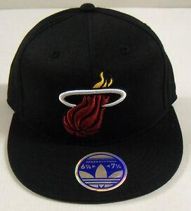 NBA Miami Heat Adidas 210 Fitted Flat Brim Flex Black Cap Hat NEW!