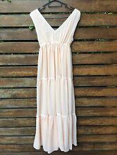 New Women Lady Korean Chiffon Peach Pink Beach Maxi Long dress AUS 8