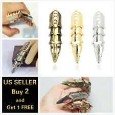 Gold Silver Mens Gothic Claw Ring Full Knuckle Spike Claw Armour Metallic Finger
