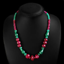 TRUELY MAGNIFICIENT 216.00 CTS NATURAL RED RUBY & GREEN EMERALD BEADS NECKLACE