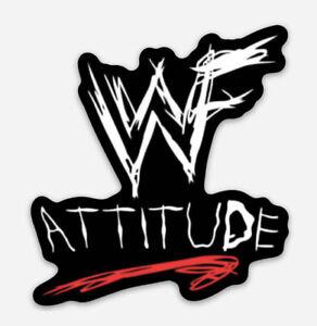 Old School Retro Style WWE WWF Attitude Era Logo Vinyl Sticker Decal
