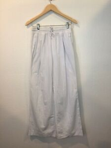 James Perse Classics Women's Pinstriped Cotton Wide Leg Elastic Waist Pants Sz 1