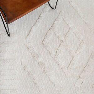 Cream Boho Rug Soft Tufted Textured Pile Bedroom Fringed Japandi Sustainable Mat