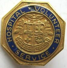 "Vintage 3/4"" Hospital Volunteer Services Enameled Pin"