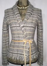 Banana Republic Gray/Beige/Ivory wool/angora blend cardigan w/tie Soft & Cozy S