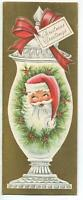 VINTAGE CHRISTMAS SHABBY SANTA CLAUS CHIC MILK GLASS JAR MCM ART GREETING CARD