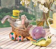 Cute Snail and Hare Resin Statue - for Table Top or Seasonal Garden Decoration