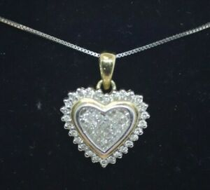 14K White & Yellow Gold 18 In Necklace w /Diamond Heart Shaped Pendant 3.6g