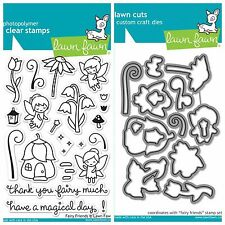 "Lawn Fawn ""FAIRY FRIENDS"" Clear Photopolymer Stamps Set and Matching Dies Bundle"